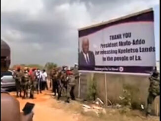 Trouble Looms As 'Thank you Akufo-Addo' Billboard Destroyed By Military Men -WATCH